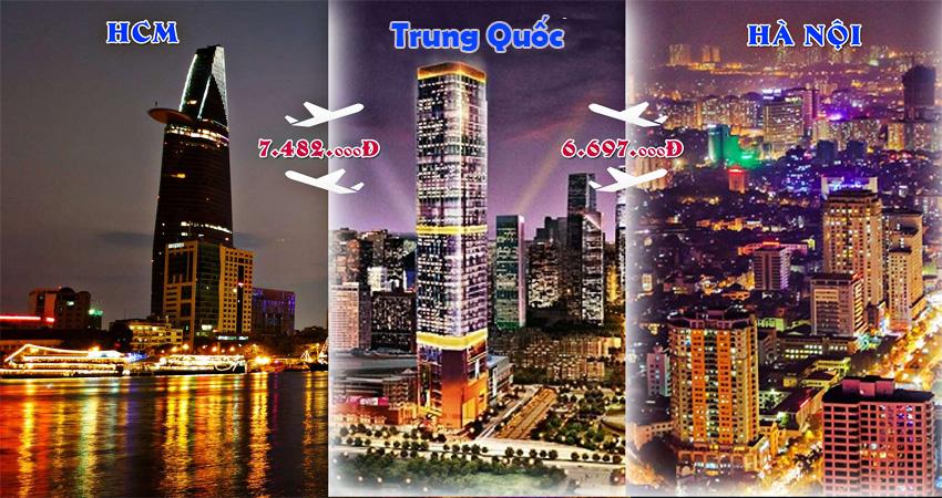 Vé máy bay khứ hồi đi Trung Quốc bao nhiêu tiền