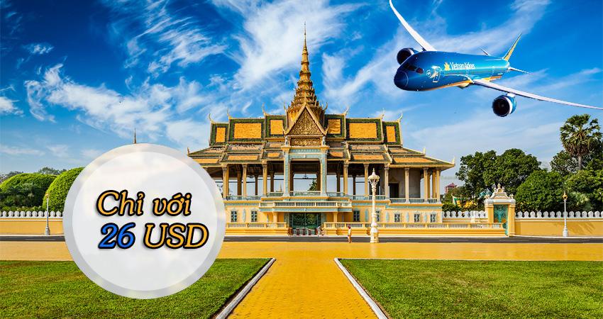Vé máy bay đi Campuchia Vietnam Airlines giá rẻ hấp dẫn nhất tháng