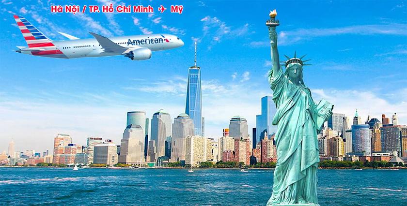 Vé máy bay đi Mỹ American Airlines đặt vé trực tuyến tại Travelus